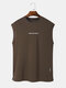 Mens Letter Pattern Patchwork Sporty Fitness Tank Top - Brown