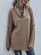 Solid Color Turtleneck Long Sleeves Casual Sweater for Women - Khaki