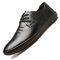 Men Genuine Leather Hand Stitching Non Slip Soft Sole Casual Shoes - Black 1