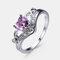 Vintage Geometric Peach Heart Crown Rings Hollow Gem Rhinestone Rings Chic Jewelry - Pink