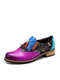 Socofy Retro Leaves Print Tassel Color Block Loafers Shoes  Stitching Elastic Band Slip On Leather Flats - Purple