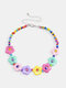 Trendy Colorful Flowers Beads Necklace Temperament Geometric Hollow Clavicle Chain - Colorful