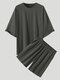 Plus Size Mens Solid Color Drop Shoulder Elastic Waist Casual Two Piece Outfits - Gray