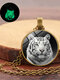 Vintage Glass Printed Women Necklace Luminous Tiger Head Pendant Sweater Chain Jewelry - Bronze