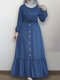 Solid Color Button Pleated Waistband Long Sleeve Casual Muslim Dress - Blue