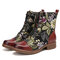 SOCOFY Elegant Flowers Embroidery Genuine Leather Lace-up Comfy Side Zipper Short Boots - Brown
