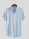 Mens Striped Breathable Stand Collar Short Sleeve Casual Loose Shirts - Light Blue