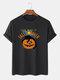 Mens 100% Cotton Halloween Cat Slogan Print Casual Short Sleeve T-Shirts - Black