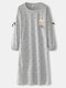 Women Polka Dot Cartoon Bear Butterfly Trims Long Sleeve Loose Home Nightgown With Pocket - Gray