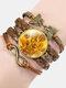 Vintage Painting Crystal Bracelet Hand-Woven Butterfly Infinity Symbol Men Women Multi-Layer Leather Bracelet - #02