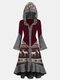 Women Patchwork Button Long Sleeve Casual Print Dress - Wine Red