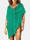 女性のかぎ針編みの中空カバーはプレーンVネックサイドスリットライト水着を持ち上げます - 緑