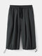 Mens Solid Color Loose Fit Drawstring Cropped Cargo Pants - Black