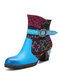 Socofy Retro Ombre Blue Leather Stitching Lattice Ethnic Patchwork Side Zipper Chunky Heel Riding Boots - Blue