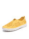 Women Brief Floral Hollow out Round Toe Flat Stitching Loafers Shoes - Yellow
