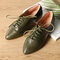 Large Size Women Casual Comfy Pointed Toe Slip On Flat Loafers - Green