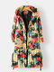 Vintage Printed Long Sleeve Hooded Knotted Coat For Women - Apricot