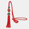 Vintage Luxury Geometric Agate Rhinestone Tassel Long Necklace Handmade Crystal Beaded Sweater Chain - Red