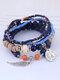 Vintage Multicolor Beads Multi-layer Bracelet Temperament Wing Pendant Bracelet - Blue