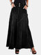 Solid Color Patchwork Button Casual Skirt With Pocket For Women - Black