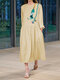 Print Long Sleeves O-neck Casual Dress For Women - Yellow