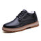 Men Comfy Wide Fit Round Toe Warm Casual  Ankle Boots - Black