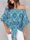 Floral Print 3/4 Length Sleeve Knotted Loose Women Blouse - Blue