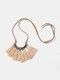 Bohemian Cotton Thread Tassel Long Necklace - #06