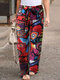 Graffiti Print Belted Elastic Waist Plus Size Casual Pants - Red