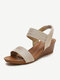 Women Fashion Comfy Soft Wearable Casual Elastic Slip On Wedges Sandals - Gold