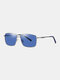 Unisex Wide Metal Frame Fashion Outdoor Cool Driving UV Protection Polarized Sunglasses - Blue