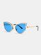 Unisex Metal Cat-eye Small Frame Colorful Lens Anti-UV Sunglasses - #03