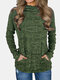 Casual High Neck Long Sleeve Plus Size Sweater with Pocket - Army Green