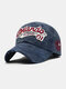 Men Cotton Letter Embroidery Pattern Casual Sport Curve Brim Sunshade Baseball Hat - Navy