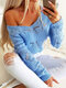 Hollowed Off-Shoulder V-neck See-through Knit Sweater For Women - Blue