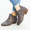 Women Synthetic Suede Pointed Toe Elastic Slip-on Chunky Heel Chelsea Boots - Grey