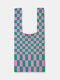 All-Match Knitted Gingham Breathable Underarm Bag Tote Optional Shoulder Strap - 2
