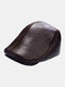 Men Genuine Leather Ear Protection Keep Warm Flat Cap Outdoor Windproof Forward Hat Beret Hat - Brown