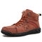 Menico Men Hand Stitching Leather Ankle Boots - Red