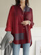 Plaid Print Long Sleeves Casual Loose Blouse With Pockets - Wine Red