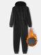 Men Thicken Heated Cotton Loungewear Jumpsuits 2 Ways Zipper Down Liner Fleece Hooded Onesies with Pockets - Black