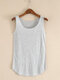 Solid Color O-neck Sleeveless Casual Tank Top For Women - Gray