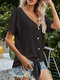 Solid Color Knotted Short Sleeve Button V-neck Casual Blouse - Black