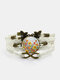 Vintage Multicolor Beautiful Floral Pattern Print Butterfly Braided Gemstone Multi-layer Bracelet - White