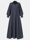 Solid Color Pocket Lapel Collar Long Sleeve Casual Dress For Women - Navy