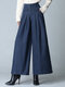 Casual Pleated Plus Size Wide Leg Pants With Pockets For Women - Navy