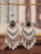 Ethnic Bohemia Vintage Drop-shape Alloy Chinese Style Earrings - Black