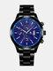 Alloy Steel Band Business Calendar Men Casual Fashion Quartz Watch - Blue+Black