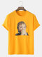 Mens 100% Cotton Surprised Boy Graphic Loose Street Short Sleeve T-Shirts - Yellow