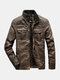 Mens Zip Up Faded Effect Casual PU Biker Jackets With Pocket - Brown